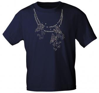 (12852) T- Shirt mit Glitzersteinen Gr. S - XXL in 13 Farben L / Navy
