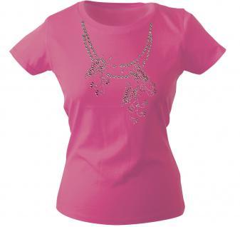Girly-Shirt mit Print - Schmetterling - Glitzer - 12852 - versch. farben zur Wahl - Pink / XL