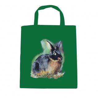 Baumwolltasche mit Print Kaninchen Hase Schwarzloh B06972 grün