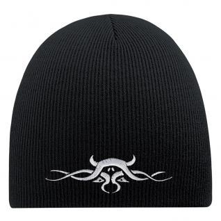 Beanie-Mütze mit Einstickung - TRIBAL TATTOO - Wollmütze Wintermütze Strickmütze - 54538 schwarz