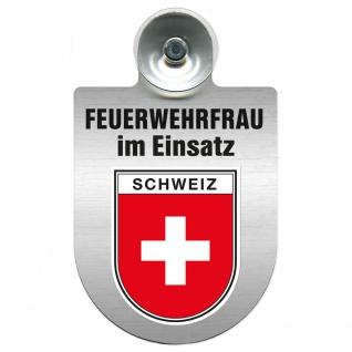 Einsatzschild Windschutzscheibe incl. Saugnapf - Feuerwehrfrau im Einsatz - 309473 Region Schweiz
