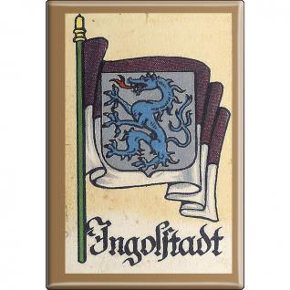 Küchenmagnet - Wappen Ingolstadt - Gr. ca. 8 x 5, 5 cm - 37531 - Magnet Kühlschrankmagnet