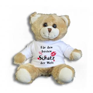 Teddybär mit T-Shirt - für den besten Schatz der Welt Gr. ca. 26 cm - 27002 hellbraun