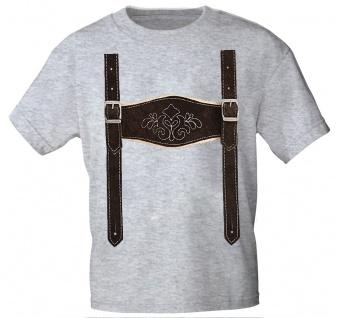 Kinder T-Shirt mit Print - Lederhose Hosenträger - 08632 Gr. 68-164 grau / 134/146