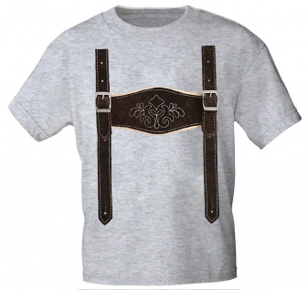 Kinder T-Shirt mit Print - Lederhose Hosenträger - 08632 Gr. 68-164 grau / 98/104
