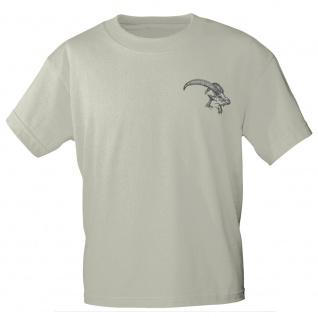 T-Shirt mit Print Gamskopf Gemse - 11916 sandfarben Gr. S-2XL