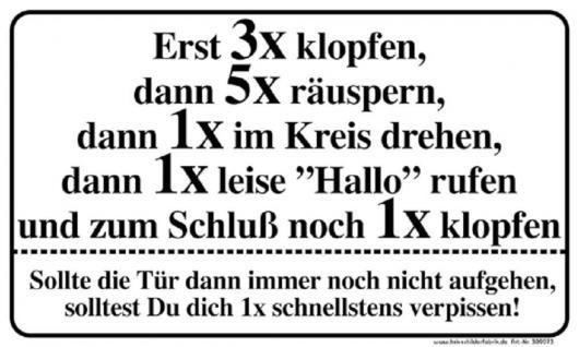 Witziges Schild - Erst 3x klopfen, 5x räuspern... - 309073 - Gr. 25 x 15 cm - Arbeit Büro