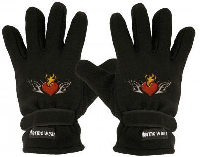 """(40385-56509) Fleece Handschuhe mit Einstickung """" FLAMMENDES HERZ"""