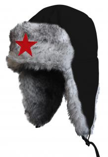 Chapka Fliegermütze Pilotenmütze Fellmütze in schwarz mit 28 verschiedenen Emblemen 60015-schwarz Stern