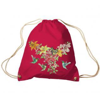 Trend-Bag Turnbeutel Sporttasche Rucksack mit Print -Blumen und Schmetterlinge - TB09844