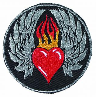 Aufnäher Patches Emblem Abzeichen Applikation rund - Herz in Flammen - Gr. ca. 6, 5cm (03036) Bike Trike Truck Chopper Roller Motorrad