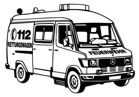 Aufkleber Wandapplikation - Rettungswagen - AP1011 - versch. Farben und Größen schwarz / 90cm