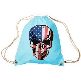 Trend-Bag Turnbeutel Sporttasche Rucksack mit Print - USA Skull - TB65311 hellblau