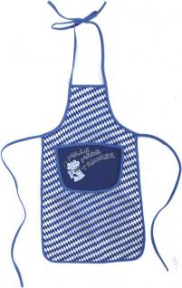 Baby- und Kinderschürze mit Print - MILCH-MASS-TRINKER - 12401 blau-weiß