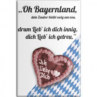 Kühlschrankmagnet - Oh Bayernland - Gr. ca. 8 x 5, 5 cm - 38764 - Küchenmagnet