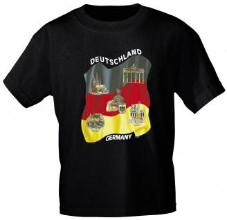 T-Shirt mit Print - Deutschland Germany Städte - 09711 schwarz - Gr. S-XXL
