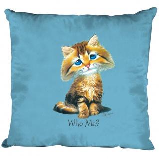 Kissen Dekokissen mit Print - Katze Cat Kätzchen Who me ? - 11684 hellblau