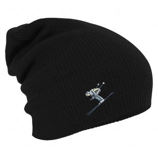 Longbeanie Slouch-Beanie Wintermütze Skifahrer 54876 schwarz