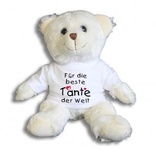 Teddybär mit Shirt - Für die beste Tante der Welt - Größe ca 26cm - 27177 weiß