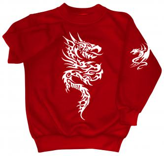Sweatshirt mit Print - Tattoo Drache - 09020 - versch. farben zur Wahl - rot / L