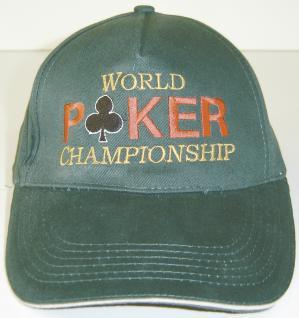 Baseballcap mit großer Bestickung - Poker World Championship - 68431 grün - Baumwollcap Hut Schirmmütze Cappy Cap
