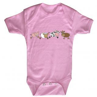 Babystrampler mit Print - Ferkel Schaf Kuh Esel - 08488 rosa Gr. 6-12 Monate