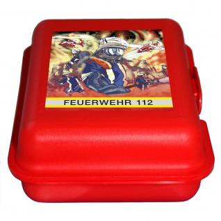 Brotdose klein mit PVC Aufkleber - Feuerwehr 112 - Gr. ca. 18 x 14 x 6, 5 cm - rot