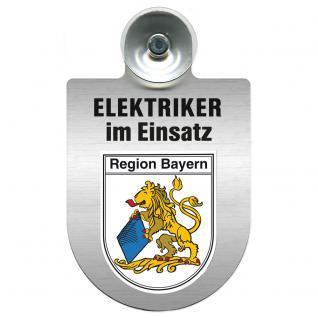 Einsatzschild für Windschutzscheibe incl. Saugnapf - Elektriker im Einsatz - 309489-2 Region Bayern