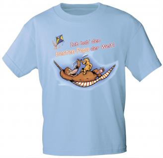 Kinder T-Shirt mit Print - Ich hab den besten Papa der Welt - 08225 - hellblau - Gr. 110/116