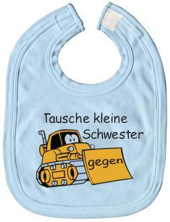 Baby-Lätzchen mit Druckmotiv - Tausche kleine Schwester... - 07024 - hellblau