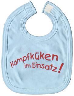 Baby-Lätzchen mit Print - Kampfküken im Einsatz - 07019 hellblau