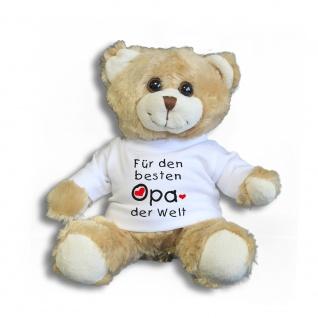 Teddybär mit Shirt - Für den besten OPA der Welt - Größe ca 26cm - 27031/1 hellbraun