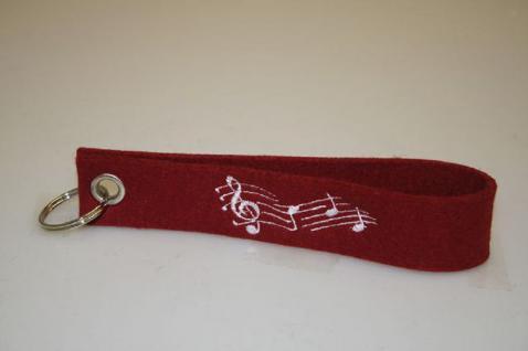 Filz-Schlüsselanhänger mit Stick - Noten- Musik - Gr. ca. 17x3cm - 14199