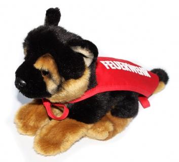 Hund mit Feuerwehrbinde 30 cm Kuscheltier oder Deko Feuerwehr HU004 rote Schärpe