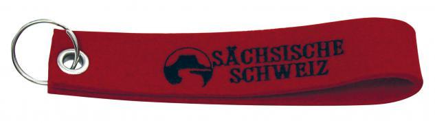 Filz-Schlüsselanhänger mit Stick Sächsische Schweiz Gr. ca. 17x3cm 14233 rot