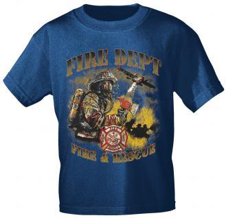 T-Shirt mit Print - Feuerwehr - 10588 - versch. Farben zur Wahl - Gr. S-2XL Navy / M