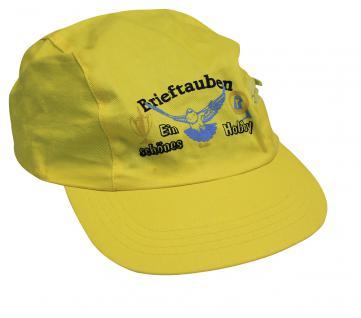 Schirmmütze - Cap mit gr. Tauben-Stick - BrieftaubenTaube Ein schönes Hobby - TB670 gelb - Baumwollcap Baseballcap Hut Cappy