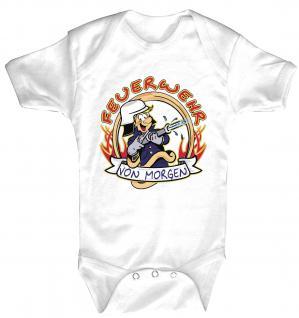 Babystrampler mit Print - Feuerwehr von morgen - 08322 weiß - 6-12 Monate