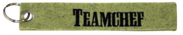 Filz-Schlüsselanhänger mit Stick TEAMCHEF Gr. ca. 17x3cm 14137 Keyholder lind