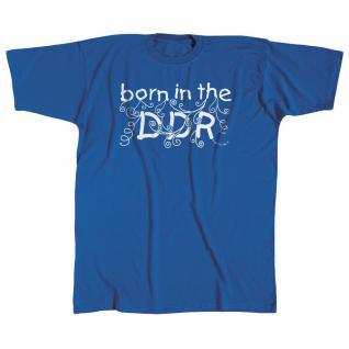 Kinder-T-Shirt mit Print - born in the DDR - 06928 blau - Gr. 152/164