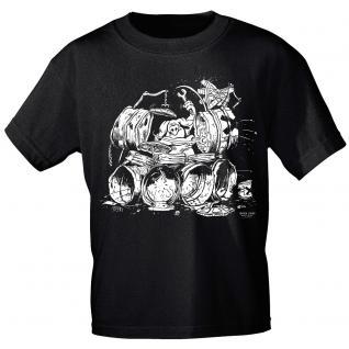 T-Shirt unisex mit Print - drumers meat pie - von ROCK YOU MUSIC SHIRTS - 10165 schwarz - Gr. S