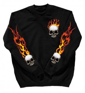 Sweatshirt mit Print - Totenkopf Fire - 10112 - versch. farben zur Wahl - schwarz / 3XL