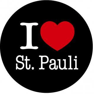 Kühlschrankmagnet - I love St. Pauli - Gr. ca. 5, 7 cm - 16249 - Küchenmagnet