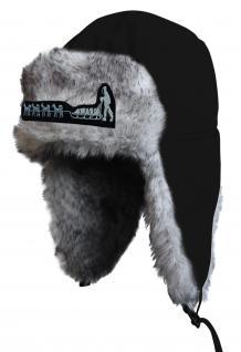 Chapka Fliegermütze Pilotenmütze Fellmütze in schwarz mit 28 verschiedenen Emblemen 60015-schwarz Hundeschlitten