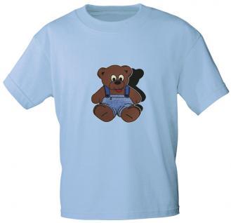 Kinder T-Shirt mit Aufdruck - Bärchen - 06890 - hellblau - Gr. 134/146