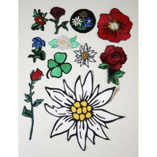 5 x Aufnaeher Set Blumen Edelweiss Enzian Mohn Restposten B2B Posten - 100139