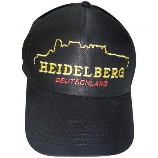 Baumwollcappy - Cap mit gr. stylischer Bestickung - Silhouette Heidelberg - 68939 schwarz - Baumwollcap Baseballcap Schirmmütze Hut