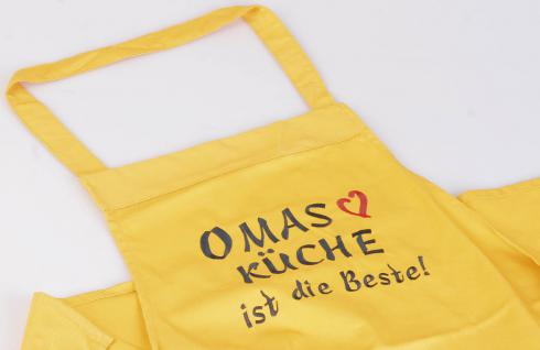 """(12535gelb) Grillschürze """" Omas Küche ist die Beste"""" gelb"""""""
