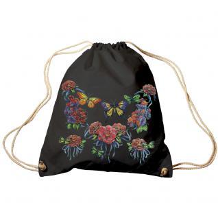 Trend-Bag Turnbeutel Sporttasche Rucksack mit Print - Schmetterlinge - TB65323 schwarz