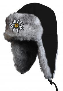 Chapka Fliegermütze Pilotenmütze Fellmütze in schwarz mit 28 verschiedenen Emblemen 60015-schwarz Edelweiss